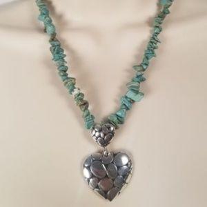 Jewelry - Silver Heart Pendant Necklace With Turquoise
